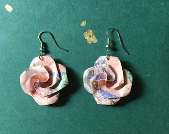 Pretty Pink Floral Origami Earrings