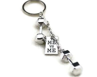 Fitness Keychain, Me vs Me, Dymbbell, Motivational keyring, Gym Bag Accessory, Gym Jewelry Fitness Fans