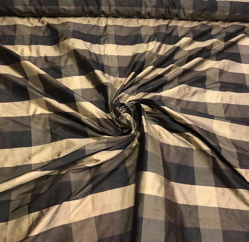 Silk shantung plaid 54 wide    Beautiful black gold tan color silk shantung fabric sold by the yard
