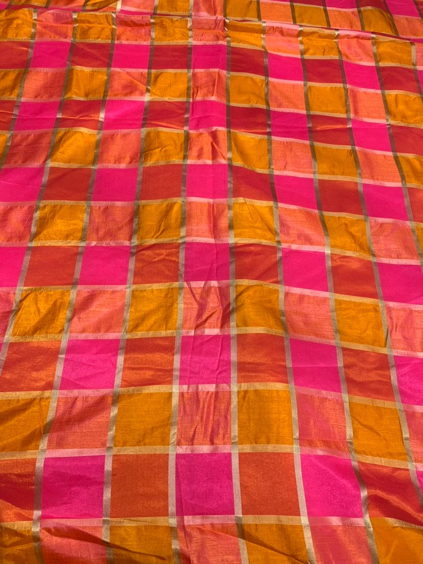 Vescose matalic plaid soft silky fabric 44 wide  beautiful fusia pink red gold color