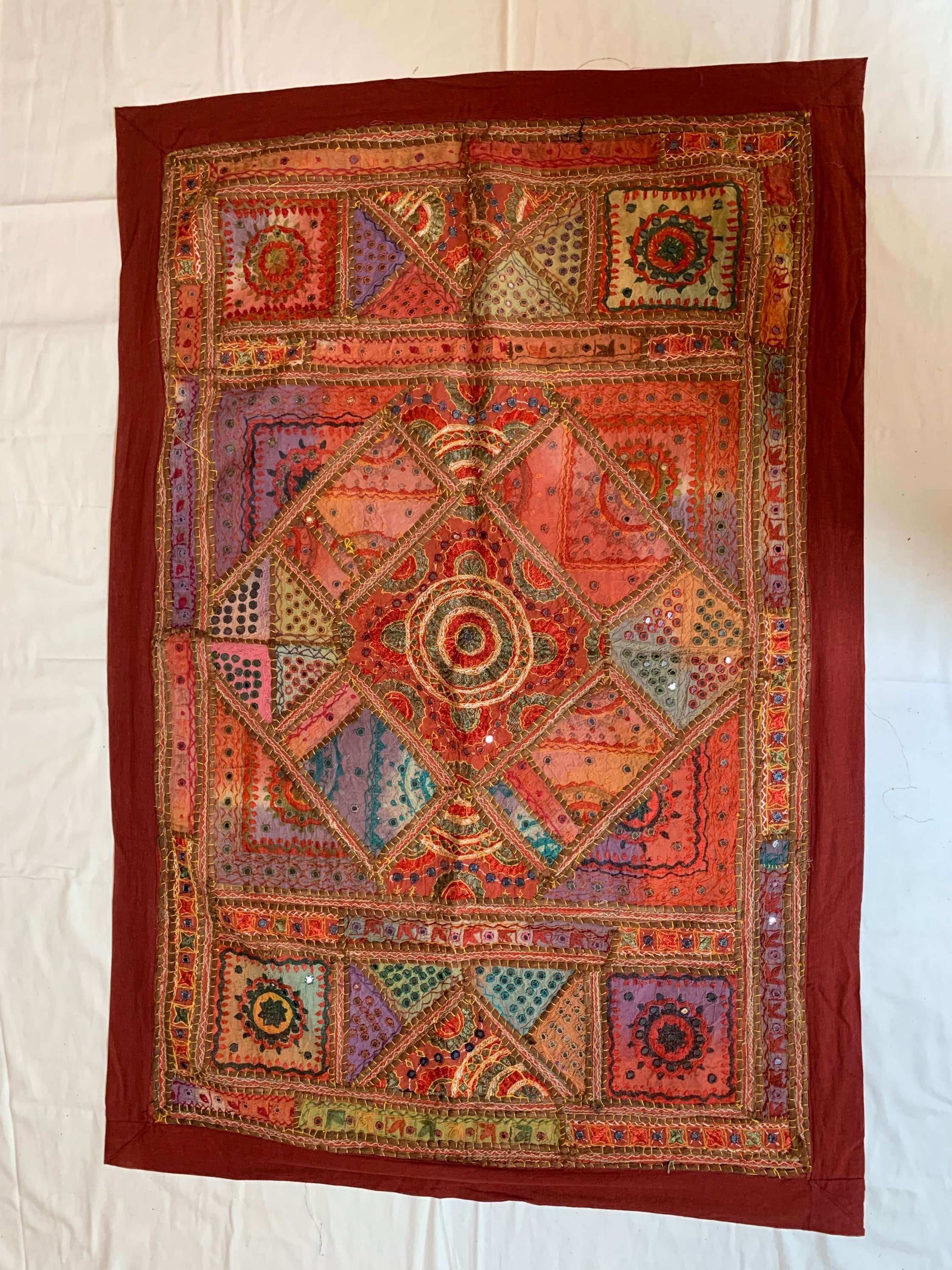 Beautiful Hand Crafted Wall Hanging Patchwork Embroidered Mirror Thread Work Traditional Pc Best Use For Home Decore