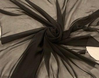 "Black silk chiffon 44"" wide. Sold by the yard"