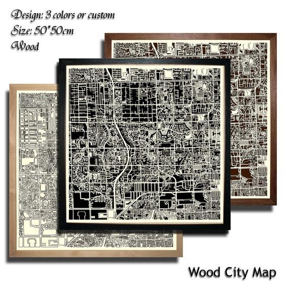 Wood City Map Pembroke Pines Florida Usa Decor Picture Town Village Laser Cut Wall Map Art Wood Handmade 50x50 Cm