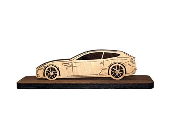 Car Wood Figurine Made For Ferrari FF Owners Plywood Sideview Statuette Gift Home Office Decor Handmade Custom Design