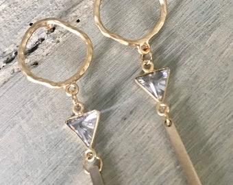 b07adf4c8 Hammered gold earrings, karma earrings, dangle earrings, crystal charm, gold  bar earrings,eleven wings jewelry,minimalist earrings,hand made