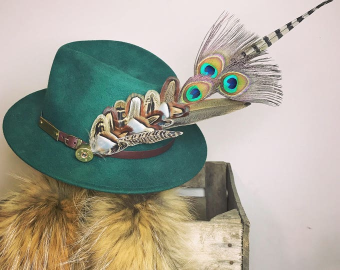 Large Pheasant/Peacock Feather and Cartridge Pin/Brooch