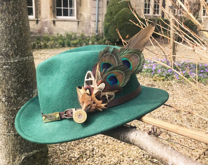 Large Pheasant and Peacock Feather and Cartridge Pin/Brooch