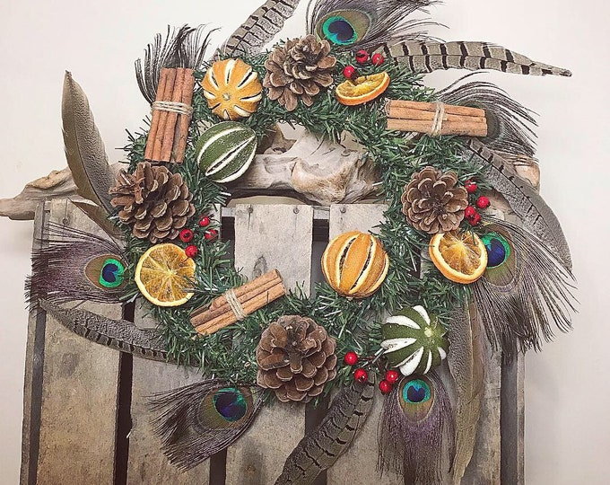 Feather and Dried Fruit Wreath