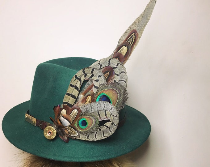 Extra Large Pheasant/Peacock Feather and Cartridge Hat Pin/Brooch