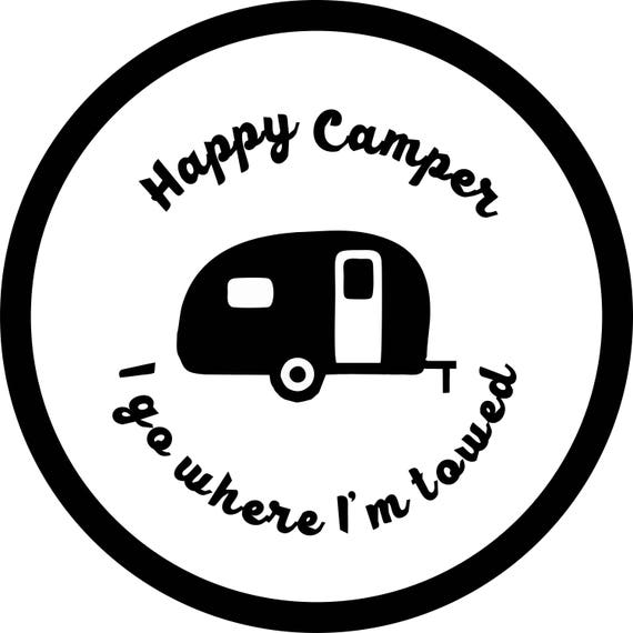 happy camper blk on white camper spare tire cover jeep