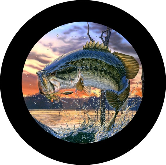 Bass Fishing Spare Tire Cover Jeep Wrangler Rubicon