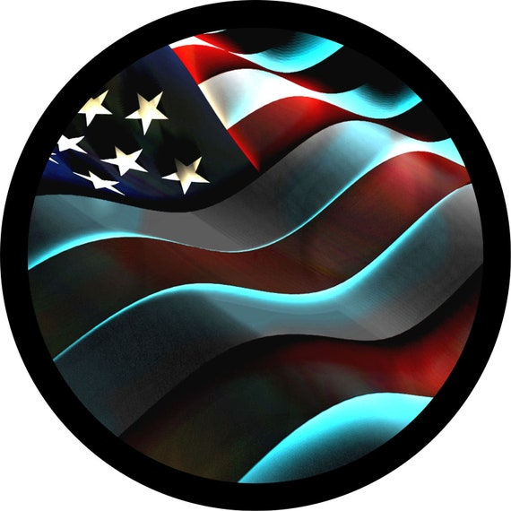 Jeep Tire Cover for Spare Tire Black Jeep of The Family Waving American Flag Black 32 in