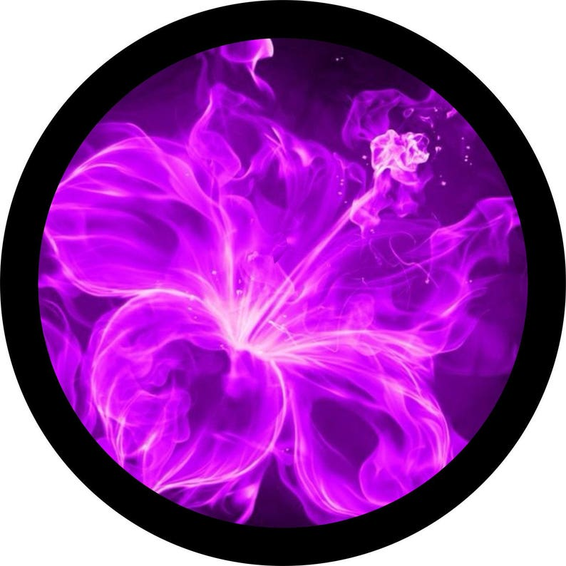 Purple Hibiscus Fire Flowers Spare Tire Cover Jeep Wrangler Etsy