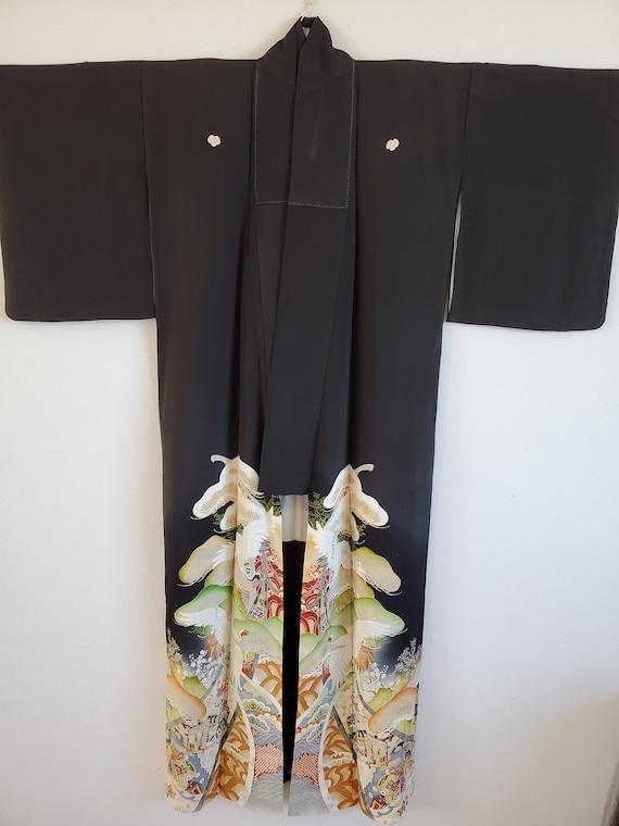 Antique Japanese Silk Kimono Robe,TOMESODE, Dressi