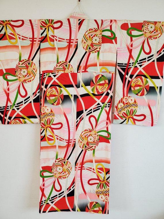 Antique Japanese  Child's Silk KIMONO Robe Furisod