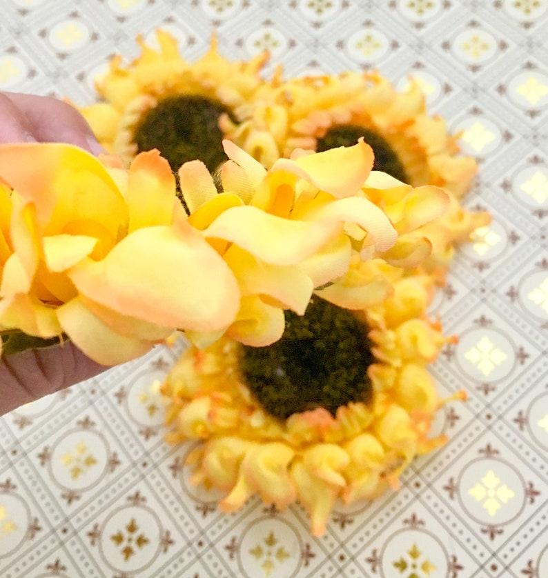 4 Artificial Sunflowers   Approximately 4    No Stem DIY Project Arts and Crafts Flowers