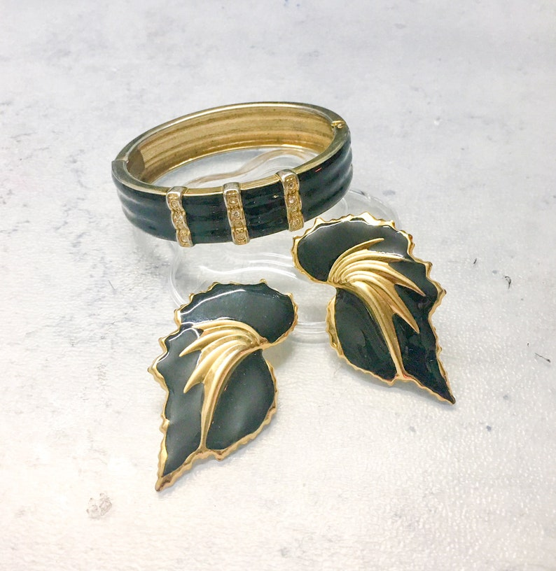 Pierced Ears Gold Colored Accents Vintage Jewelry Set Small Clear Round Stones Bling Black Enamel Hinge Cuff Bracelet and Earrings