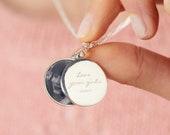 Personalised Engraved Photo Swing Locket, Engraved round locket, Sterling silver picture locket, Modern circular women 39 s locket, photo gift