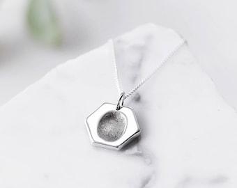 6dc912f88 Silver Fingerprint Necklace / Custom Necklace / New mom necklace /  Personalised silver necklace / Baby Fingerprint necklace / Gift for her