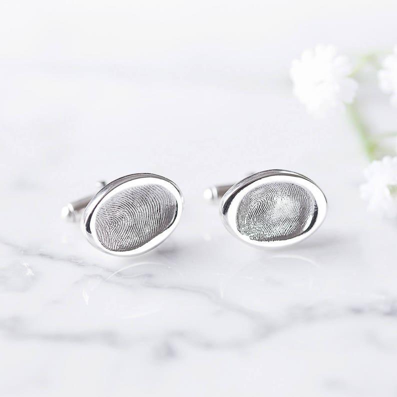 a82b79562 Under The Thumb Oval Cufflinks/ Daddy fingerprint jewellery/ | Etsy