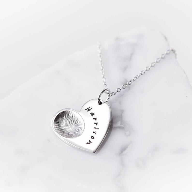 506541bee Silver Fingerprint Heart Necklace/ Fingerprint Jewellery/ | Etsy