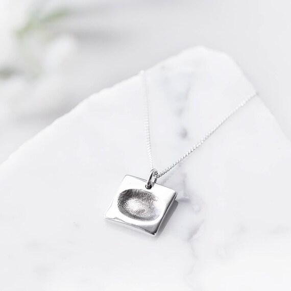 5f8e7c51b Silver fingerprint charm necklace / baby fingerprint necklace | Etsy