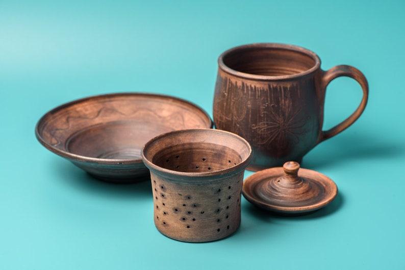 d1fb5be1879 Rustic Tea set, handmade tea mug, stoneware pottery cup with lid saucer,  ceramic teacup, coffee cup, handmade ceramic cup, tea cup, tea mug