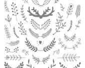 Clear antler wreath clear stamp