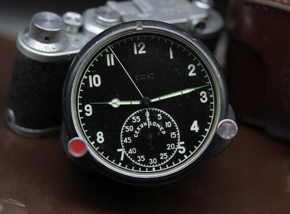7190305cffd Soviet AirForce Cockpit Clock 123 CP   60 ChP Russian MIG Su
