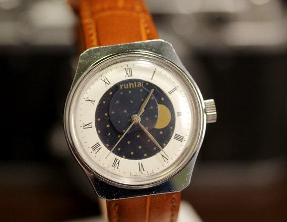 844997460e5a Vintage Ruhla Moon Phase reloj mecánico DDR reloj Retro