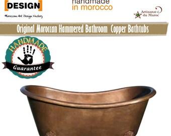 Hammered bathroom gauge 12 tub Copper bathtub 100% manual work