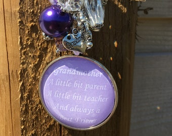 Grandmother Rear View Mirror Hanger. Travel Gift. Handbag Accessory. Grandmother Home Decor. Mother's Day. Car Accessories