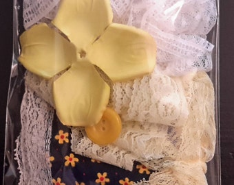 Yellow Inspiration Kit, Lace collage pack trim Mixed Media Supplies Textile art pack Scrapbooking supplies lots #1/15-15