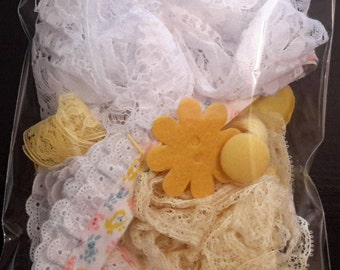 Yellow Inspiration Kit, Lace collage pack trim Mixed Media Supplies Textile art pack Scrapbooking supplies lots DIY #1/15-11
