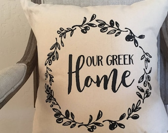 Our Greek Home © pillow cover