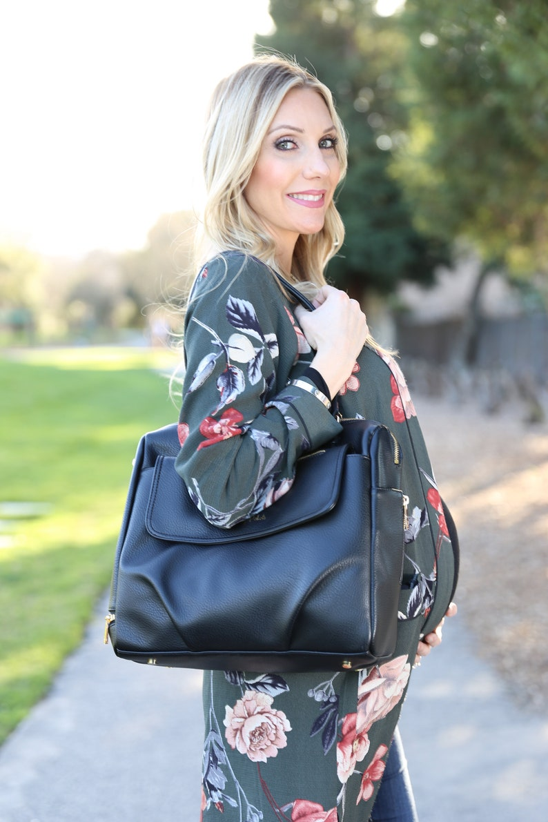 Nappy Bag Pretty Pokets Black Vegan Leather Multifunctional Diaper Bag Tote Baby Bag for diapers