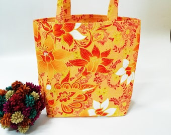 Fabric Gift Bags Orange Small Tote Bag White Flower Party Favor Bags Treat Bags Wedding Gift Bags with gold Carborundum