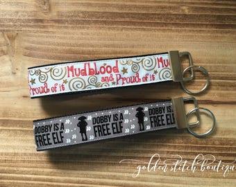 Harry Potter inspired Dobby and Mudblood Key Fobs. Handmade Key Fobs.