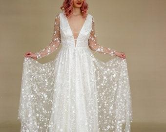Star celestial simple off white wedding dress with train, boho wedding dress sleeves, sparkles glitter, 2022 european wedding | LUV-LUV