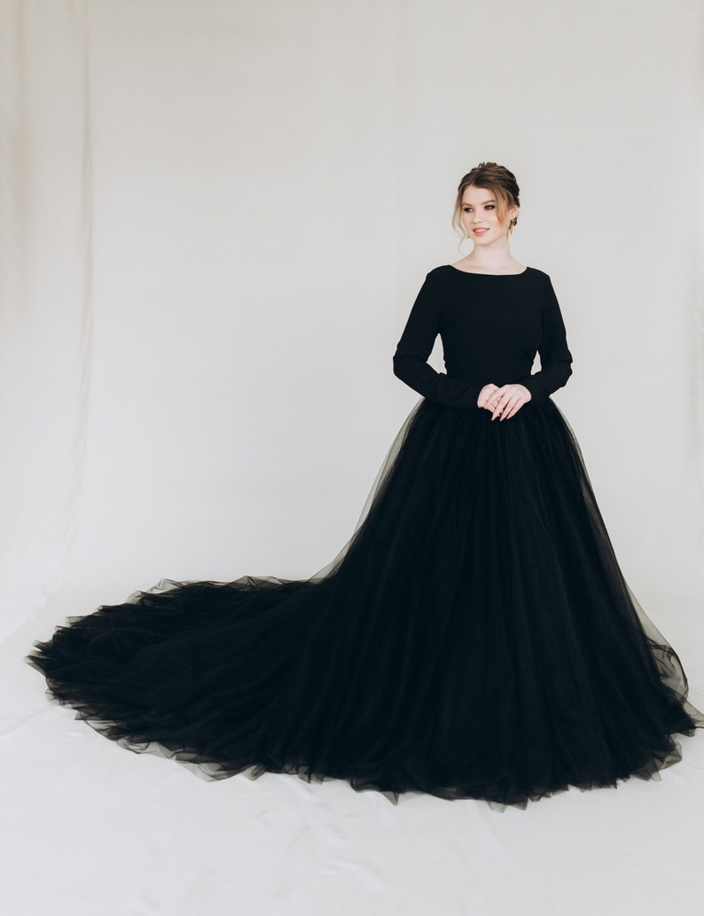 Black wedding dress tulle dress ball gown gothic alternative image 2