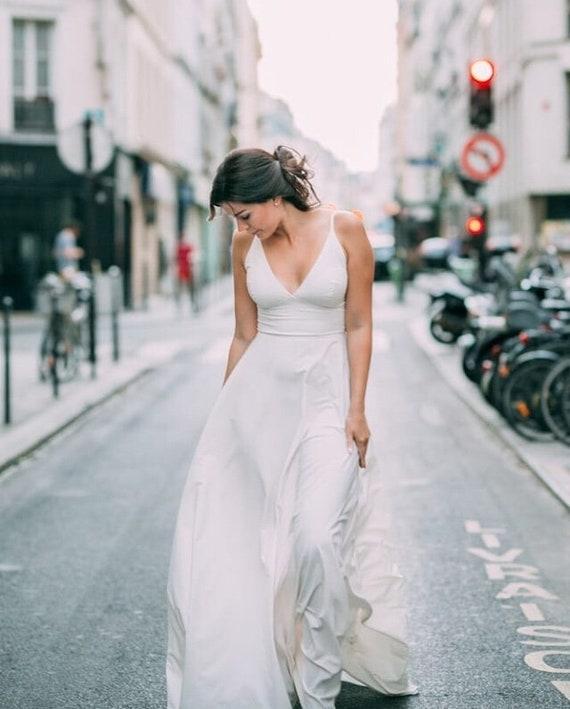 Simple Wedding Dress Boho Wedding Dress Off White Summer Etsy