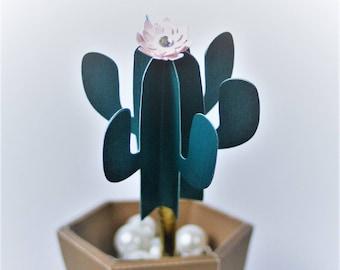 Cactus Office Pens set Desk Decor Set of 3 Cactus pens with pink flower Dr. Office Cactus flowerpot pens flowerpot included
