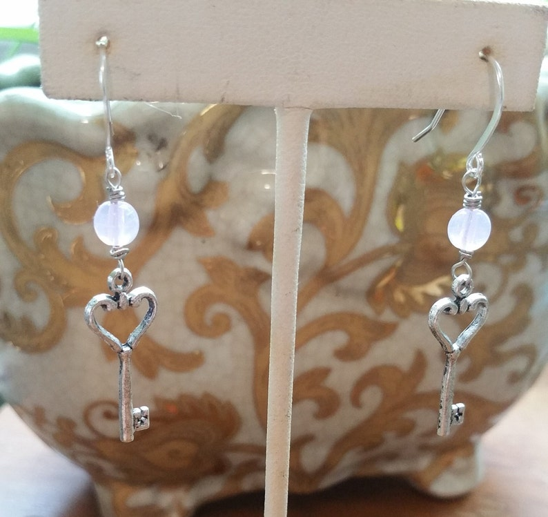 Rose Quartz Crystal Jewelry silver key earrings jewelry for mother or wife or girlfriend Key to my Heart Rose Quartz Silver Earrings