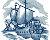 Delft Blue Sailing Ship, Embroidered Iron-on Patch, Available in 2 Sizes, Holland, Netherlands, Dutch, Watercraft, Fluyt, Carrack, Cog