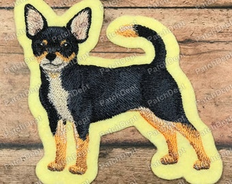 Glue-On /& Iron-On Patch w Chihuahua Canine Dog Puppy Breed Head Face Portrait Custom {1.8 x 2.8 Inch} 1 of Sew-On Beige, Brown, Black