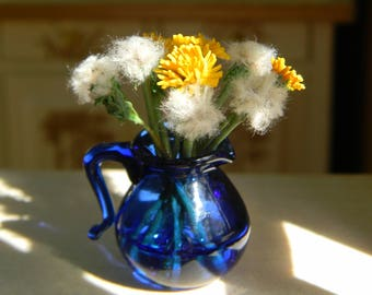 Dollhouse flowers, Miniature 1:12, Dandelions, Rustic,Provence, Country Decor,Vintage Style,Miniature Flower Bouquet