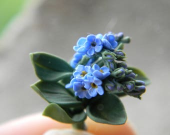 Miniature Forget-me-nots, Dollhouse Flowers, Miniatures 1:12, Miniature Flowers, Dollhouse Flowers Bouquet, dollhouse décor, 12th Scale