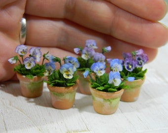 Dollhouse pansies in old pot, Miniature heartsease, Scale 1/12