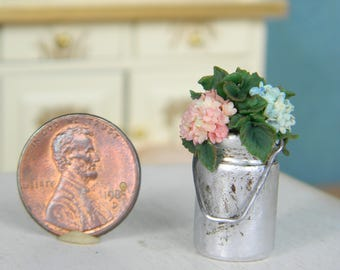 Dollhouse Miniature Bouquet, Miniature Hydrangea in Metal Cans,  Flowers Miniature 1:12, Rustic, Provence, Country Decor, Vintage Style