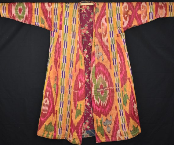 antique silk ikat robe, Uzbekistan